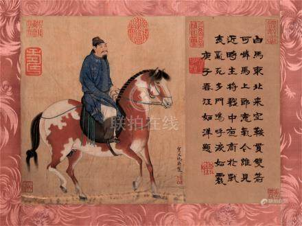CHINESE SCROLL PAINTING OF HORSE MAN WITH CALLIGRAPHY