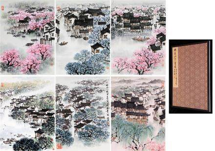 SIX PAGES OF CHINESE ALBUM PAINTING OF LANDSCAPES