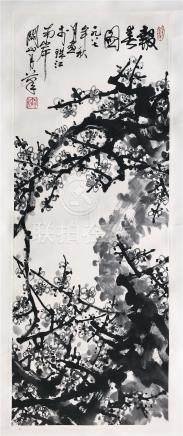 CHINESE SCROLL PAINTING OF PLUM BLOSSOMMINGS