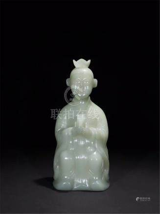 CHINESE CELADON JADE SEATED BOY TABLE ITEM