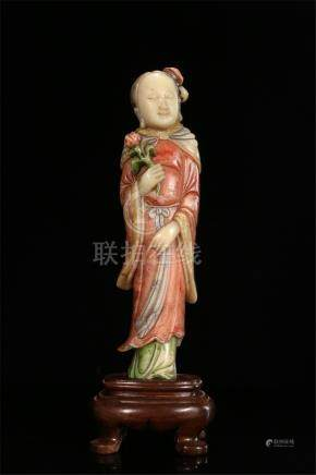 CHINESE SOAPSTONE COLOR PAINTED STANDING BEAUTY