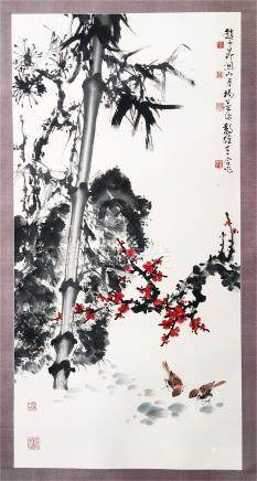 CHINESE SCROLL PAINTING OF SPARROW AND BAMBOO