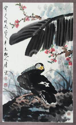 CHINESE SCROLL PAINTING OF BIRD AND LEAF