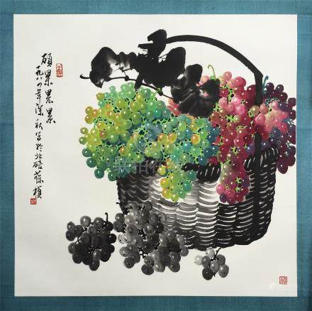 CHINESE SCROLL PAINTING OF GRAPE IN BASKET