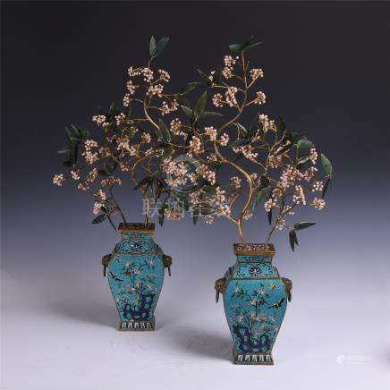 PAIR OF CHINESE PEAREL JADE GILT BRONZE BENSAI IN CLOISONNE VASE