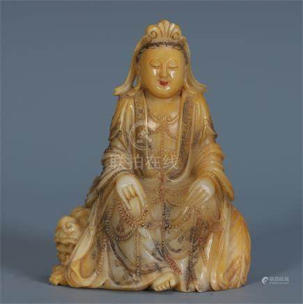CHINESE SOAPSTONE SEATED GUANYIN ON LION