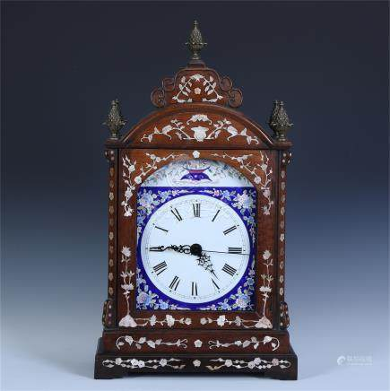 CHINESE HARDWOOD HUANGHUALI MOTHER OF PERAL INLAID ENAMEL TABLE CLOCK