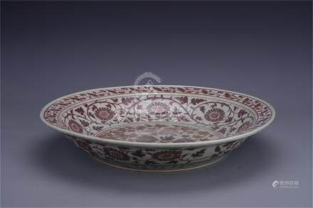 CHINESE PORCELAIN RED UNDER GLAZE CHARGER