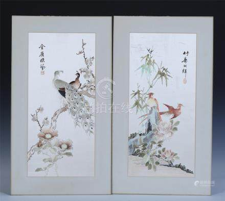 PAIR OF CHINESE EMBROIDERY BRID AND FLOWER