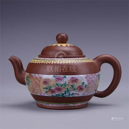 CHINESE COLOR PAINTED YIXING ZISHA CLAY TEA POT