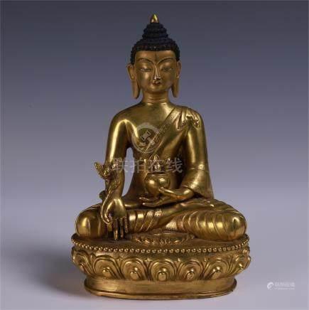 TIBETAN GILT BRONZE SEATED BHAISAJYAGURU
