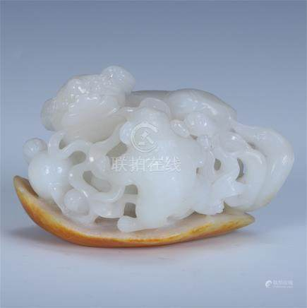 CHINESE WHITE JADE LIONS TABLE ITEM