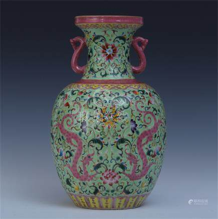 CHINESE PORCELAIN GREEN GROUND FAMILLE ROSE DRAGON VASE