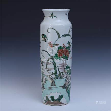 CHINESE PORCELAIN WUCAI BIRD AND FLOWER VASE