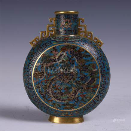 CHINESE CLOISONNE DRAGON MOONFLASK VASE