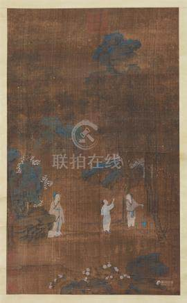 CHINESE SCROLL PAINTING OF FIGURES IN MOUNTAIN