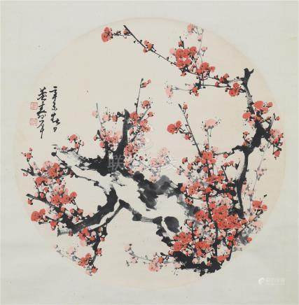 CHINESE ROUND FAN PAINTING OF PLUM BLOSSOMMINGS