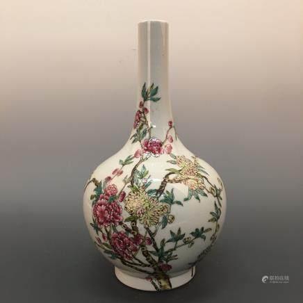 Chinese Famille Rose Globular Vase, Yongzheng Mark