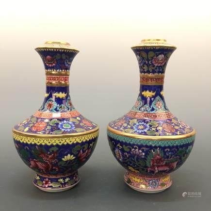 Chinese Famille Rose Vase Pair, Qianlong Mark