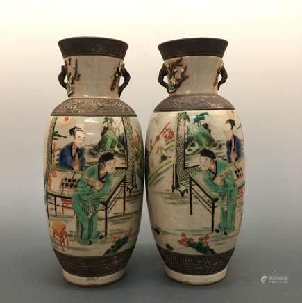 Chinese Wucai 'Figure' Vase Pair, Kang Xi Mark