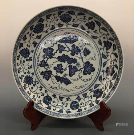 Chinese Blue&White Grape-Vine Porcelain Plate