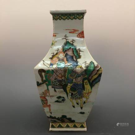 Chinese Wucai 'Figure' Square Vase, Kang Xi Mark