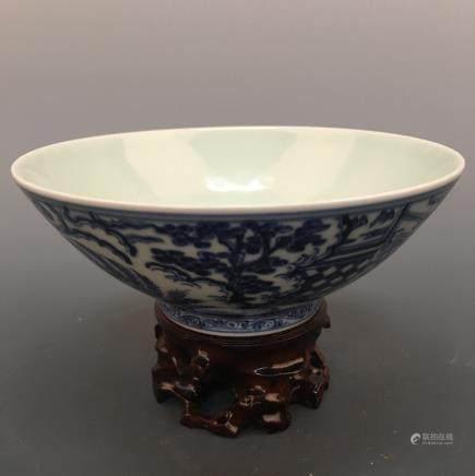 Chinese Blue Glazed Bowl, Xuande Mark