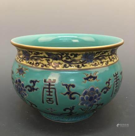 Chinese Famille Rose Jar, Kangxi Mark