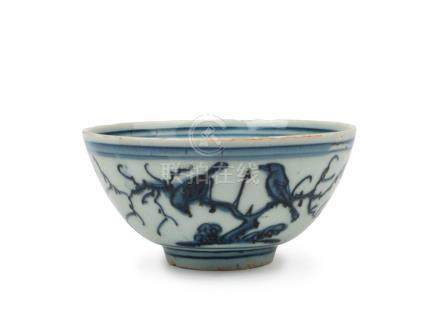 A Chinese blue and white porcelain bowl, Ming Dynasty, seal
