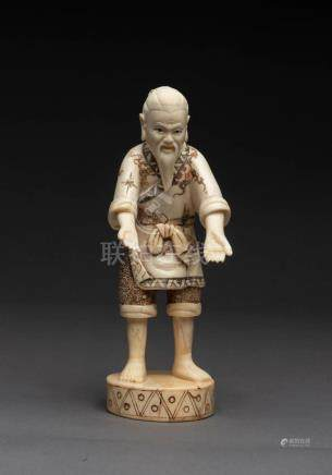 A Chinese carved and painted bone figure of a man, 20th cent