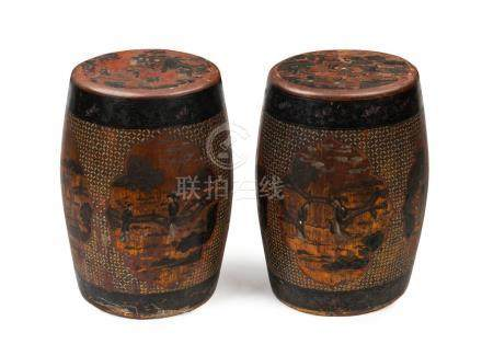 A fine pair of Chinese drum stools, lacquer and timber, Qing