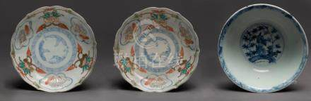 Three Chinese porcelain dishes, Qing and Ming Dynasty, 15cm
