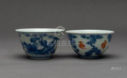 Two Chinese porcelain tea bowls, Republic Period, early 20th
