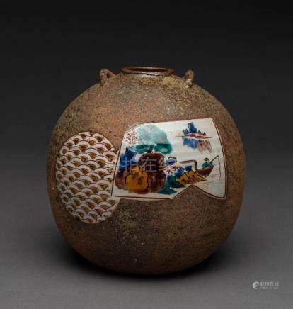 A Japanese pottery vase with glazed enamel cartouche, charac