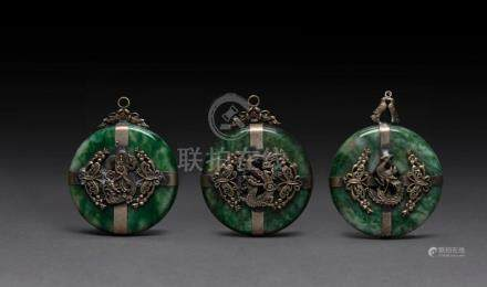 Three Chinese silver and jade bead or pendant ornaments, ear