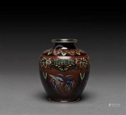 A Japanese cloisonne vase with silver wire, Meiji period, st