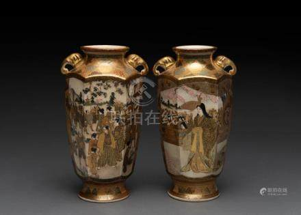 A fine pair of SATSUMA mantle vases with scenes of crowds an