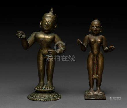 Two North Indian bronze offering figures, 19th century, the