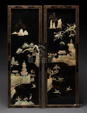 A pair of Chinese lacquered panels, 20th century, 89 x 31cm