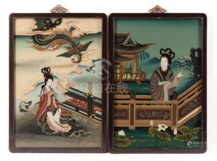 Two Chinese Reverse Glass Paintings of Beauties