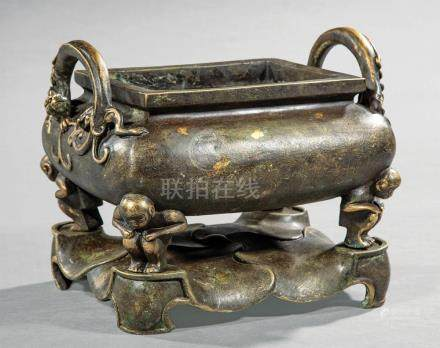 Chinese Gilt and Patinated Bronze Censer