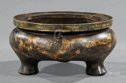 Chinese Gilt and Patinated Bronze Tripod Censer