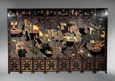 Chinese Carved Lacquer Eight Panel Floor Screen