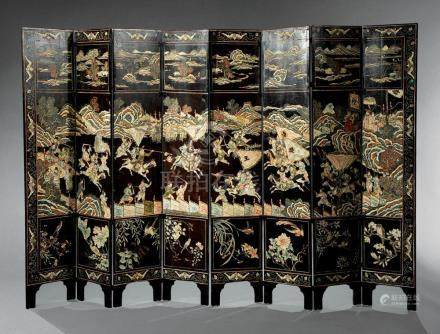 Chinese Carved Lacquer Eight-Panel Floor Screen