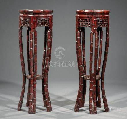 Pair of Chinese Hardwood Tall Tables/Stands