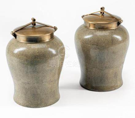 Bronze-Mounted Chinese Porcelain Tea Jars