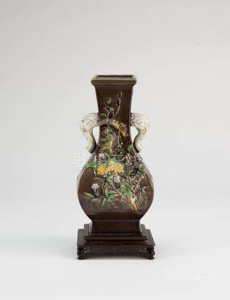 Qing-A Famille-Glazed Carved Flowers Elephant Handle Vase