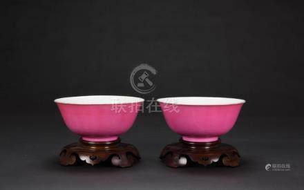 Qing -A Pair Of Ruby-Pink Glazed Bowls
