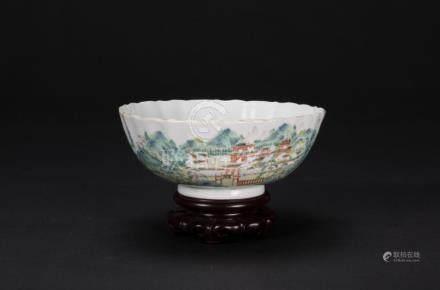 Qing-A Famille-Glazed 'Landscrap' Bowl