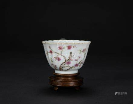 Qing-A Famille-Glazed 'Plum and Poetry' Cup